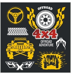 Off-road elements and emblem - set vector image