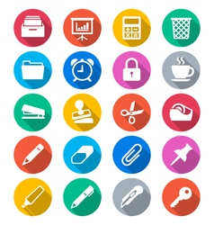 Office supplies flat color icons vector