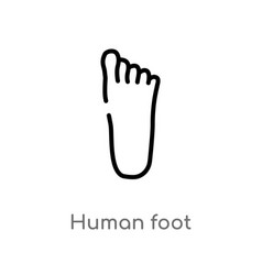 Outline human foot icon isolated black simple vector