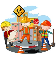 People working at the road construction vector image