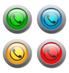 Phone handset icon glass button set vector image