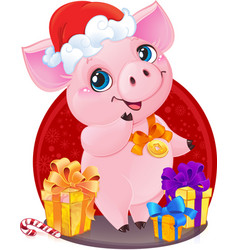 Piglet with christmas gifts for the new year 2019 vector