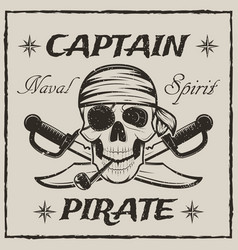Pirate captain skull and crossed swords vector