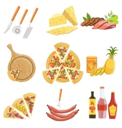Pizza Ingredients And Cooking Utensils Collection vector