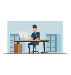 Policeman deskwork flat vector