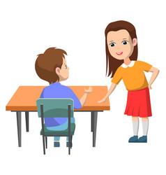 pupils talking on break school children vector image
