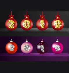 realistic 3d christmas balls with golden 2019 vector image