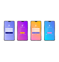 realistic detailed 3d mobile phone and login form vector image