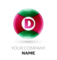 Realistic letter d logo in colorful circle vector