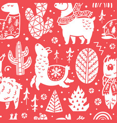red christmas holidays seamless pattern with cute vector image