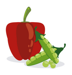 Red pepper and pea pod diet vector