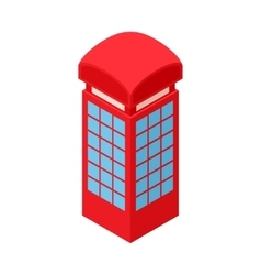 Red telephone box icon cartoon style vector