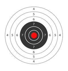 Round target with red spot in middle for shooting vector