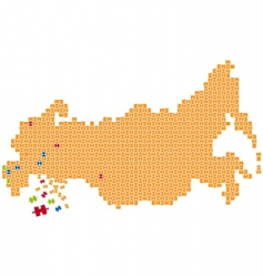 Russia puzzle map vector