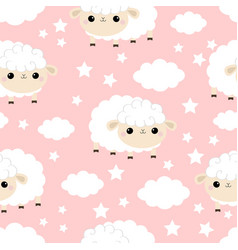Seamless pattern sheep baby cloud star in the sky vector