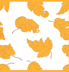 seamless pattern with yellow leaves vector image