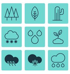 Set 9 landscape icons includes plant raindrop vector