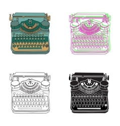 Set of 4 pastel vintage typewriters vector