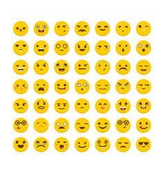 set of emoticons cute emoji icons flat design vector image