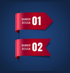 set of red decorative ribbons bookmarks vector image