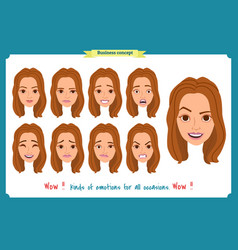 Set of woman expression isolated businesswoman vector
