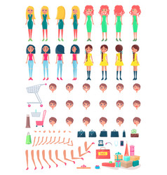 shopaholic girls constructor with shopping bags vector image