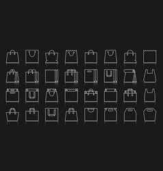 Shopping bag simple white line icons set vector