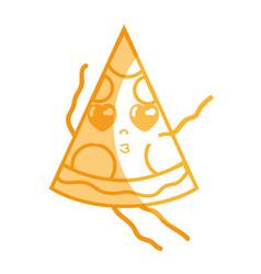 Silhouette kawaii cute tender slice pizza food vector