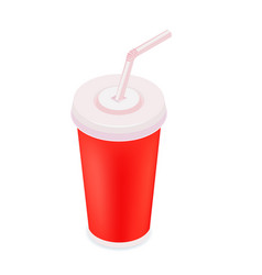 Soft drink cup color isometric style icon vector