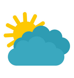 sun clouds icon flat style vector image
