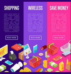 supermarket online shopping isometric posters vector image