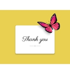 Thank you blank card with beautiful red butterfly vector image