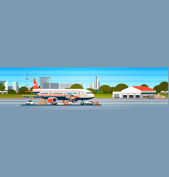 transport airplane express delivery preparing vector image