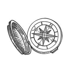 Vintage compass sketch engraving vector