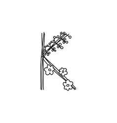 Vintage floral bold letter k logo spring classic vector