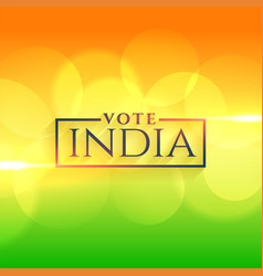 Vote india background with indian flag colors vector