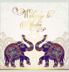 welcome to india travel card poster vector image