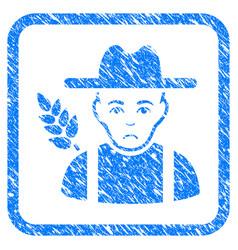 Wheat farmer framed stamp vector