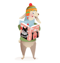 Winter rabbit or hare reading book about wolf vector