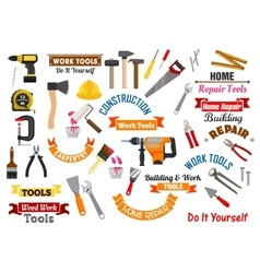 Work tools icons repair construction signs set vector