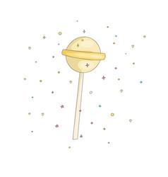 Yellow lollipop fun cartoon icon sweet vector