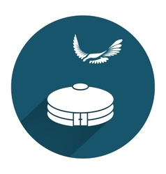 Yurta jurt eagle icon Mongolian kazakh house vector
