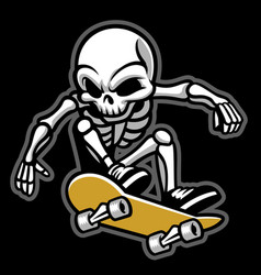 cartoon of skull ride a skateboard vector image vector image