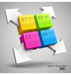 Colorful cubes with arrows 3D vector image