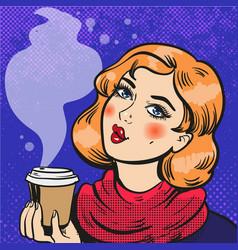 girl with coffee pop art comics vector image
