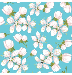 Seamless pattern with cherry blossoms vector image