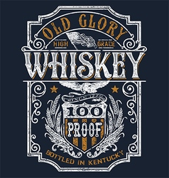Vintage americana whiskey label t-shirt graphic vector