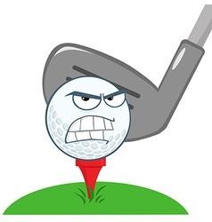 Angry Golf Ball Over Tee vector image vector image