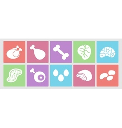 Flat icons set for web meat eggs offal and vector image