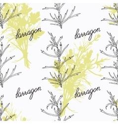 Hand drawn tarragon branch and handwritten sign vector image vector image